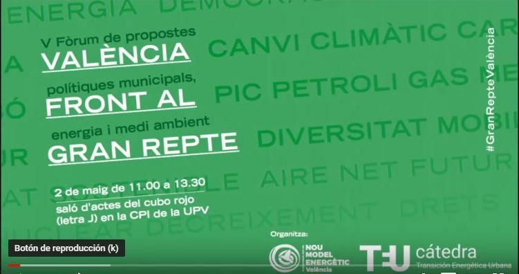 2 Mayo 2019: Vídeos del V Foro de Energía y Sostenibilidad: Propostes Polítiques Municipals